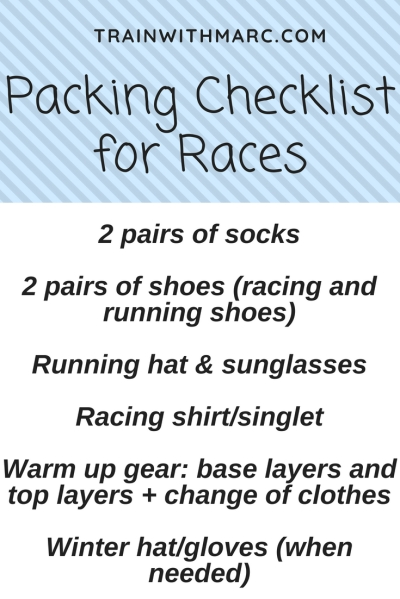 List of items needed to be comfortable when racing