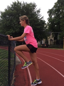 Emily doing drills to improve running form