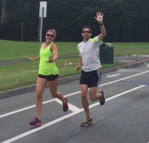 Carly & Marc having fun on a run