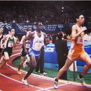 Coach Marc (in orange) at the Millrose Games, 2002.