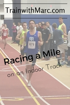 Coach Marc racing a mile on an indoor track