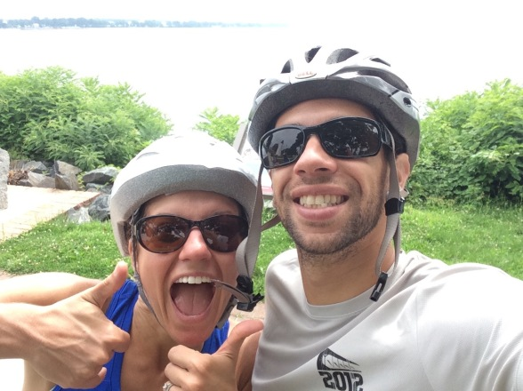 Carly and Marc biking