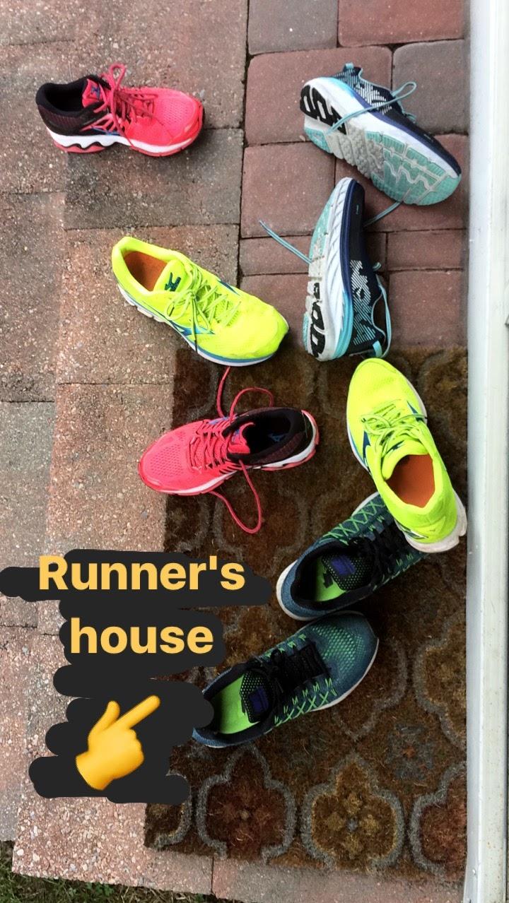 Running shoe varieties at the Pelerin household