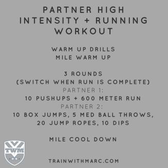 Partner High Intensity Running Workout